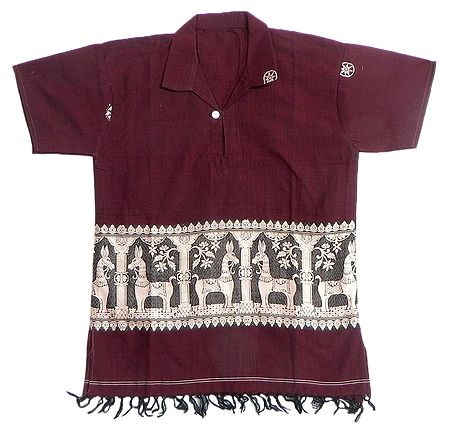 Maroon Half Sleeve Short Kurta with Baluchari Weave Design