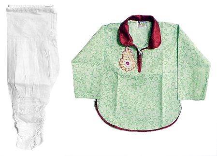 White Cotton Churidar and Printed Green Kurta with White Bead Work in Front