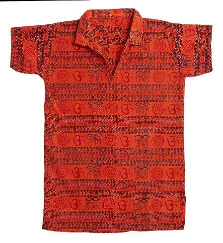 Saffron Half Sleeve Short Kurta with Om Print