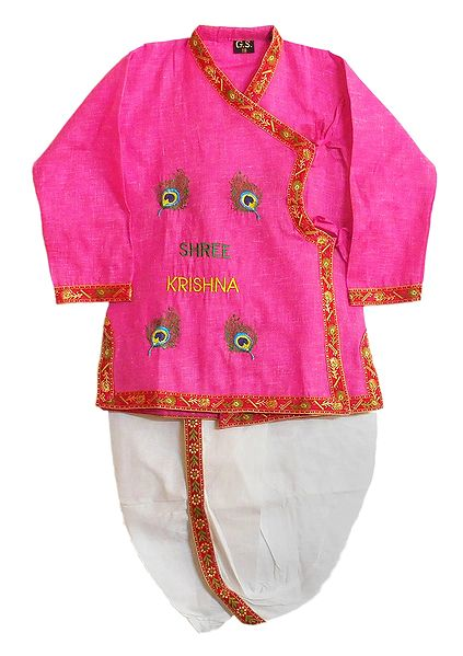 Peacock Feather Embroidery on Pink Kurta with White Pyjama Dhoti
