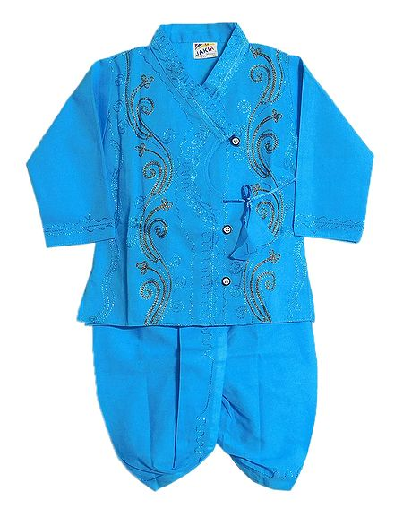 Embroidered Cyan Blue Kurta and Ready to Wear Dhoti for Baby Boy