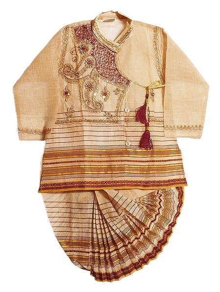 Embroidered Beige Kurta and Ready to Wear Dhoti for Baby Boy