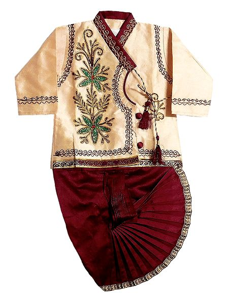 Embroidered Kurta and Ready to Wear Maroon Dhoti for Baby Boy