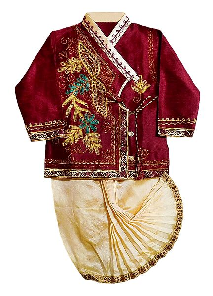 Embroidered Maroon Kurta and Ready to Wear Beige Dhoti for Baby Boy