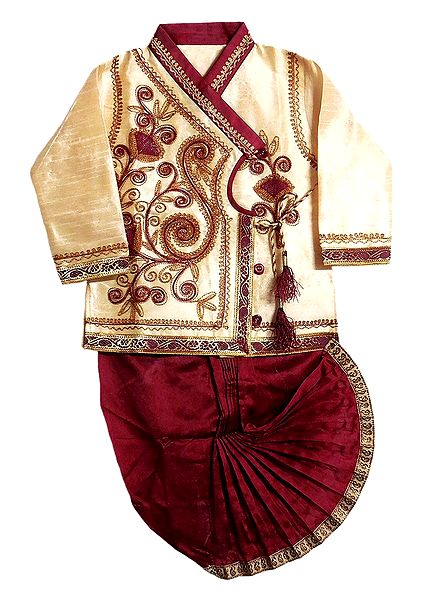 Embroidered Beige Kurta and Ready to Wear Maroon Dhoti for Baby Boy