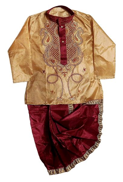 Embroidered tussar Kurta and Ready to Wear Maroon Dhoti for Baby Boy