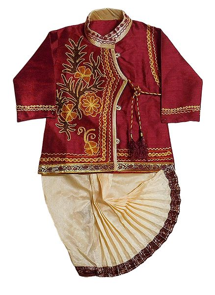 Embroidered Maroon Cotton Silk Kurta and Ready to Wear Beige Dhoti for Baby Boy