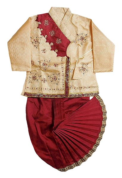 Embroidered Cotton Silk Kurta and Ready to Wear Maroon Dhoti for Baby Boy