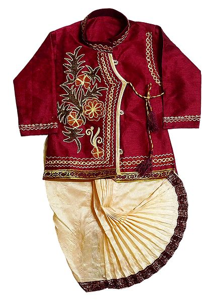 Embroidered Cotton Silk Kurta and Ready to Wear Beige Dhoti for Baby Boy