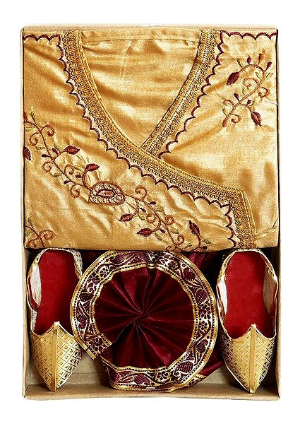 Embroidered Silk Tussar Kurta, Maroon Pyjama Dhoti with Shoe