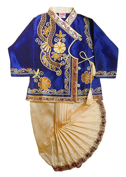 Embroidered Blue Kurta and Stitched Beige Dhoti for Baby Boy