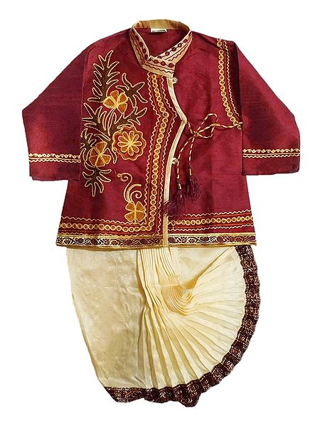 Embroidered Maroon Cotton Silk Kurta and Stitched Beige Dhoti for Baby Boy