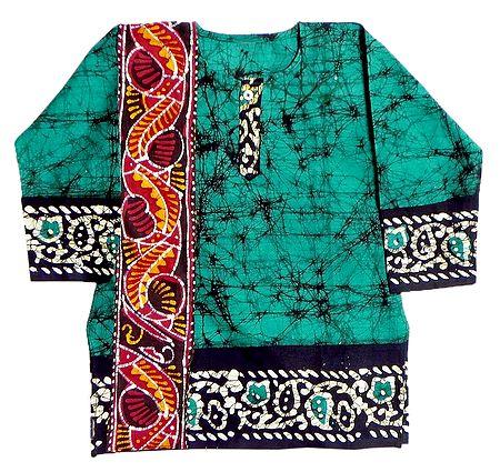 Green Batik Kurta