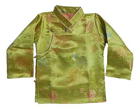 Green Woven Brocade Silk Finish Kurta