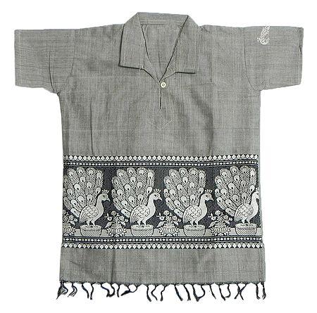 Light Grey Half Sleeve Short Kurta with Baluchari Weave Design