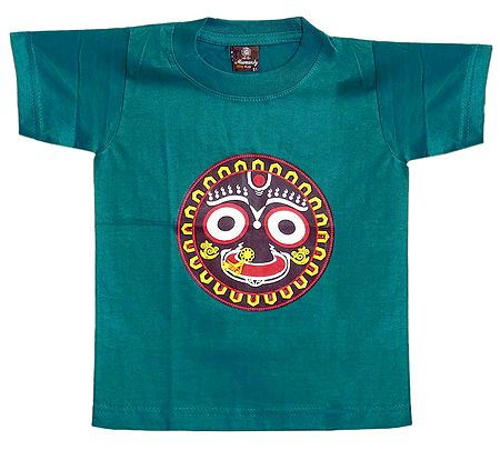 Printed Face of Jagannathdev on Cyan Green T-Shirt for Baby Boy