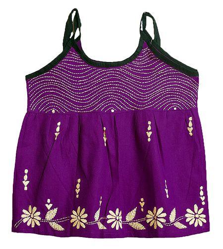 Kantha Stitched Purple Frock