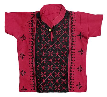Red with Black Short Kurta with Kantha Stitch for Young Boy