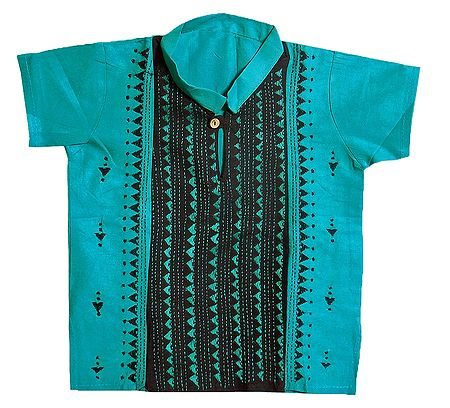 Cyan Blue with Black Short Kurta with Kantha Stitch for Young Boy