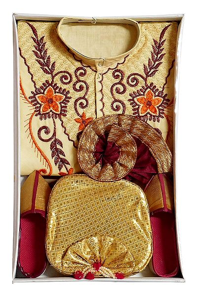 Embroidered Light Yellow Cotton Kurta, Ready to Wear Maroon Dhoti, Golden Pagri and Shoe