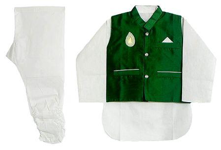 Modi Dress - White Cotton Churidar Kurta with Raw Silk Green Jacket