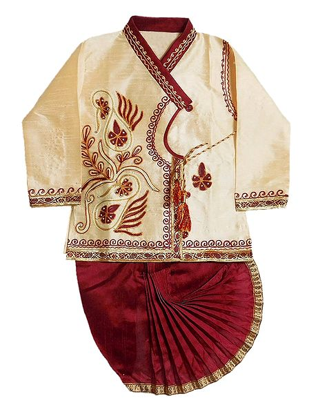 Embroidered Off-White Kurta and Ready to Wear Maroon Dhoti for Baby Boy