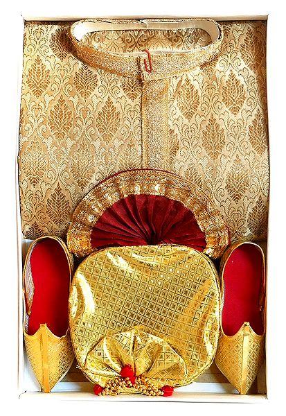 Beige Brocade Kurta, Maroon Dhoti with Golden Pagri and Shoe