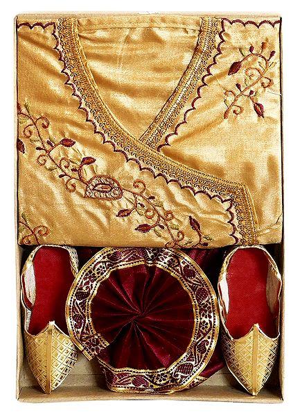 Embroidered Silk Tussar Kurta, Maroon Pyjama Dhoti with Shoe