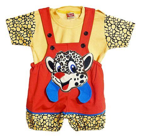 Baby Cheetah Dungaree Set for Baby Boy
