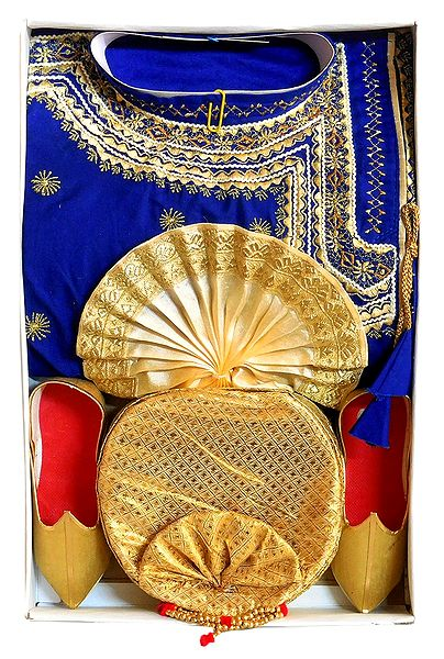 Embroidered Blue Kurta, Light Beige Dhoti with Golden Pagri and Shoe