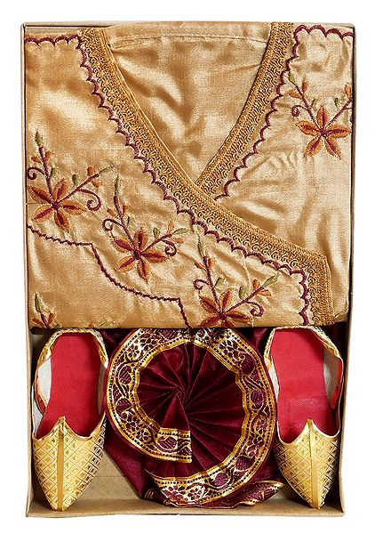 Embroidered Beige Tussar Kurta, Ready to Wear Dhoti, Golden Pagri and Shoe