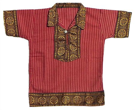 Red Stripe Half Sleeve Cotton Short Kurta with Wheel of Konark Weave Design