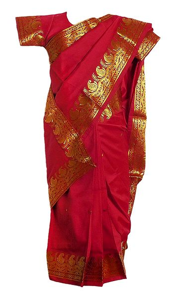 Red Silk Stitched Saree with Golden Zari Border for Baby Girl
