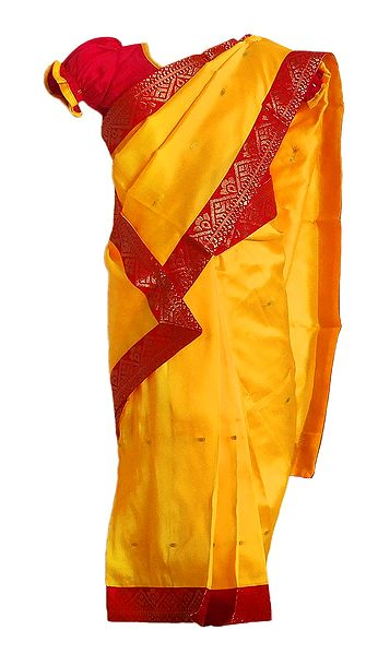 Kids Yellow Silk Stitched Saree with Red Golden Zari Border for Baby Girl
