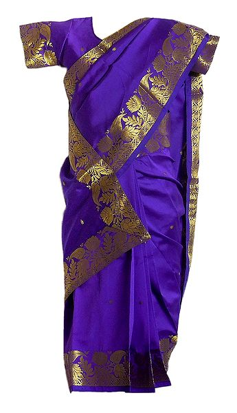 Purple Silk Stitched Saree with Golden Zari Border for Baby Girl