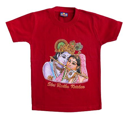 Printed Radha Krishna on Red T-Shirt