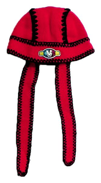 Red Cap with Black Embroidery