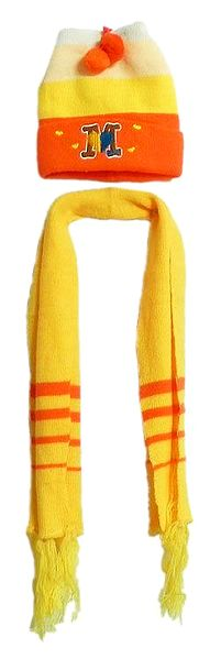Yellow with Saffron Woolen Scarf and Cap with Embroidered Letter 'M'