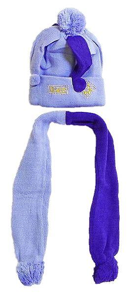 Light Mauve with Dark Purple Woolen Scarf and Cap