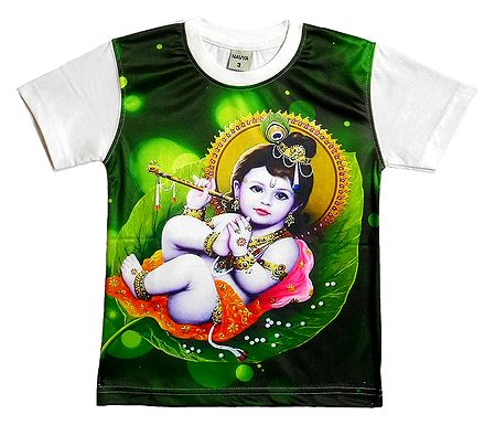 Printed Krishna on Green T-Shirt