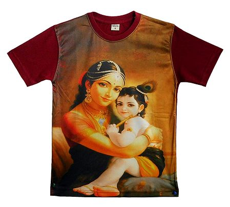 Printed Yashoda Krishna on Maroon T-Shirt for Young Boy