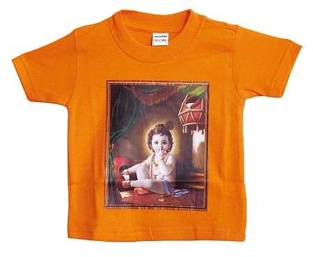 Printed Krishna on Saffron T-Shirt for Baby Boy
