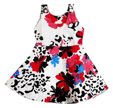 Printed White Sleeveless Frock for Girls