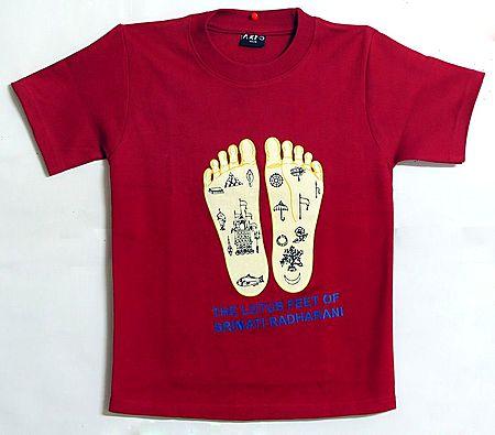 Printed Radha's Feet on Red T-Shirt