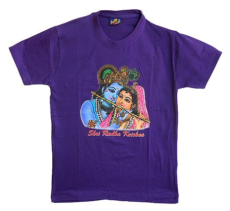 Printed Krishna on Purple T-Shirt for Young Boy