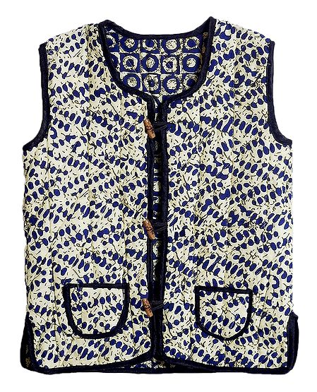 Reversible Printed Quilt Jacket with Pocket