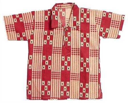 Red with Peach Half Sleeve Printed Cotton Short Kurta