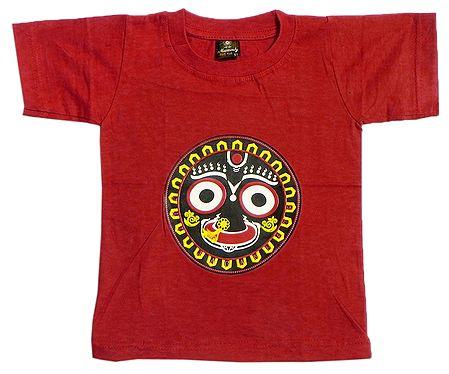 Printed Jagannathdev Face on Red T-Shirt