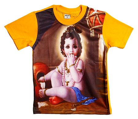 Printed Makhan Chor Krishna on Brown T-Shirt