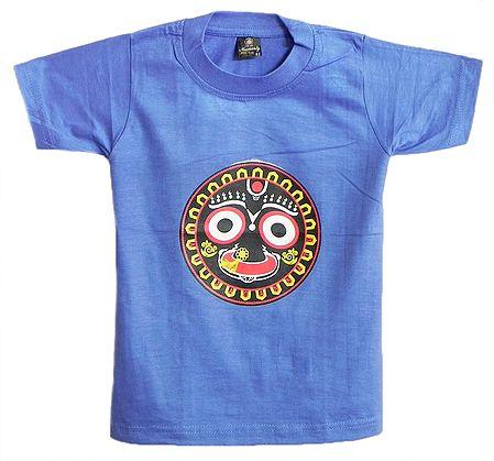 Printed Face of Jagannathdev on Blue T-Shirt